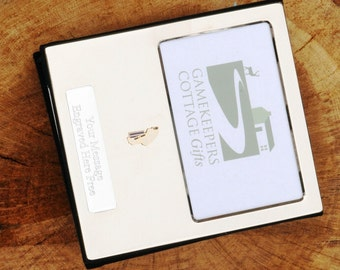 Cricketer enamel  Design Silver Personalised Photo Album FREE ENGRAVING pewter emblem holds 100 6x4 photos