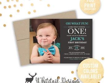 First Birthday Photo Invitation, Photo Birthday Invitation, Boy first Birthday Invite, Baby Birthday Invitation, DIGITAL FILE