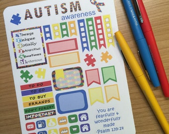 Autism awareness month planner stickers