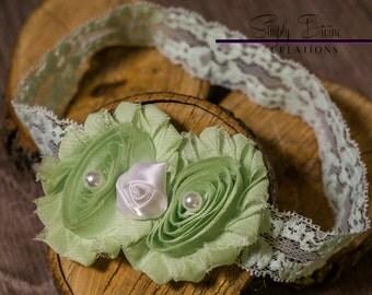Green Rosette Flower Headband