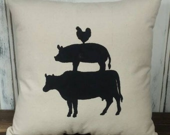Cow Pig Chicken Pillow Cover, Farm Animal Pillow