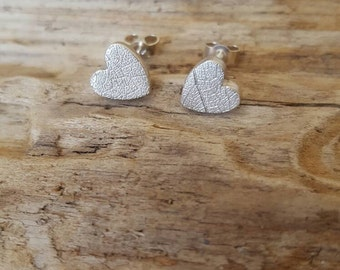 Fine silver leaf textured  mini heart earrings