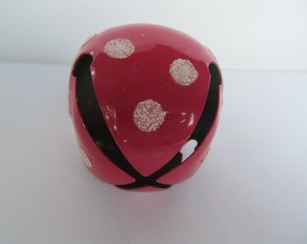 Brass Bell Painted - red with white polke dots