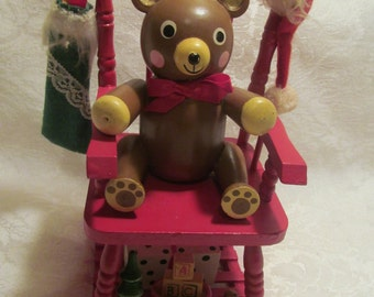 Vintage Christmas Decoration  Bear with rocking chair music box