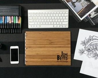 Bamboo Portfolio 8.5x11 Landscape with Silver Hinges, Portfolio presentation, screw post portfolio, portfolio book, sleek portfolio, folio