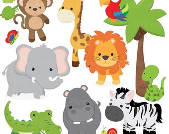 Cute Jungle Animal Clipart - Cute Safari Clipart, Jungle Animal Vectors, Safari Animal Vectors, Monkey Clipart, Elephant Clipart