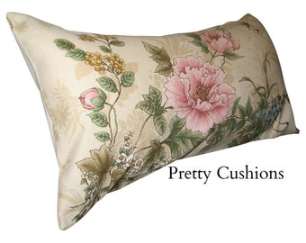 Vintage Antique Floral Pink & Cream Bolster Cushion Cover