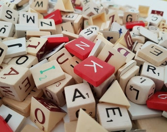Lettermix 100  pieces - letter dices - wooden letters  - plastic letters and cardboard letters