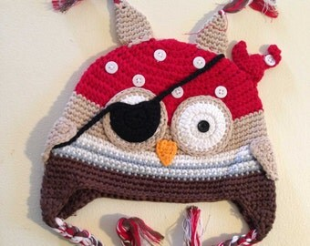 Boy Pirate Owl Crochet Kids Hat