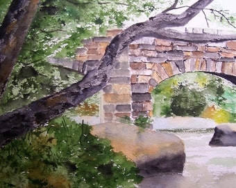 Stone bridge painting,original watercolor,painting of bridge,arched bridge,art show, wooded scene,water,flowing water,stream,rocks and trees