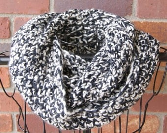 Black and White Infinity Crochet Scarf