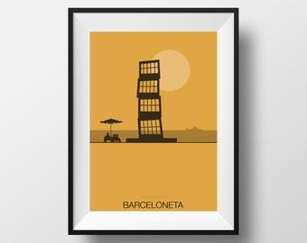 Barcelona print, Barcelona poster, Life's Beach, Barceloneta Beach print, Barceloneta poster, Barceloneta art, Barceloneta Beach, Barcelona