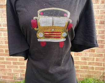 Spangle School Bus Black T shirt,  sparkles in the sunshine, shines under nights at light or when your kids say they LOVE your T shirt!!