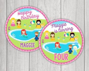 Princess Pool Party Printable Party Circles