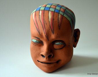 Head - ceramic head - smiling face - face - ceramic sculpture - funny face - sculpture - art - smiling funny face - man