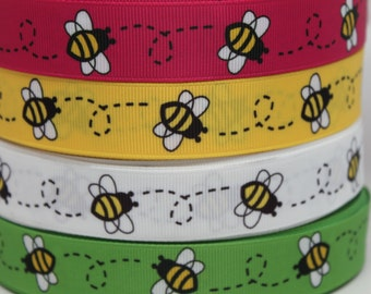 Bumble Bee Ribbon 7/8 Inch Grosgrain Ribbon by the Yard for Hairbows, Scrapbooking, and More!!