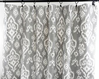 Grey Curtains. Raji Ikat  Ash grey. 2 Panel Curtains. Drapes. Window Treatment. Cotton.unlined.Designers. Choose size