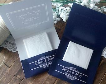 20 Tears of Joy Tissue Packs, Wedding Tissues, for tears of joy, happy Tears Packs,Navy Blue,Beach Wedding, Customized tissue packs