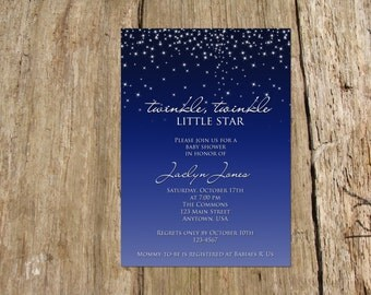 Twinkle Twinkle Little Star Invitation/Announcement, Baby Shower, Digital Printable File, color options available