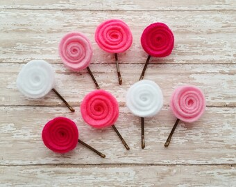 Pretty in Pink Felt Flower Bobby Pins, Felt Flower Pins, Felt Flower Hair Clip, Flower Bobby Pins, Pink Flower Bobby Pins, Flower Hair Pin
