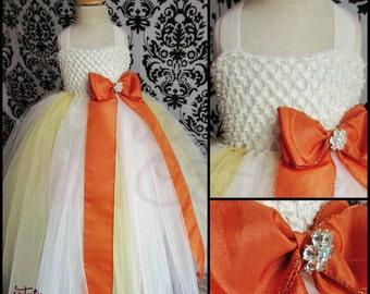 Orange Flower Girl Tutu Dress/Orange Tutu/Orange Dress/Flower Girl Dress/Ivory Tutu Dress/Ivory Flower Girl Dress/Empire Waist Tutu Dress