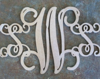 36 inch Vine Connected Monogram Letters - Unfinished