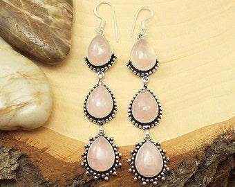 Rose Quartz Earrings, Silver Rose Quartz Earrings, Rose Quartz Gemstone Earrings, Rose Quartz Stone Earrings, Pink Rose Quartz Boho Earrings