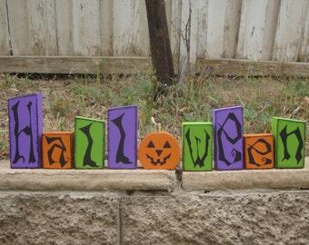 Halloween Blocks- Halloween Decor, Halloween Wood Blocks, Halloween Wood Decor,October and Home Decor