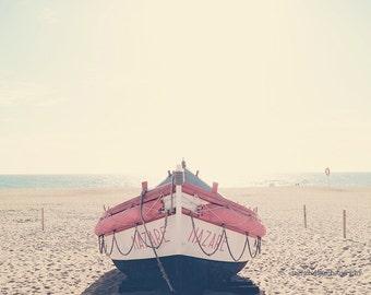 Boat photography, large fishing boat, rowboat, beach photo, nautical fine art print, dreamy summer wall art, pink, home decor, wall decor