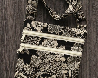 Lace Print Cross Body Purse
