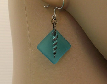 Turquoise Blue Cultured Sea Glass with Greek Casting Auger Shell Earrings