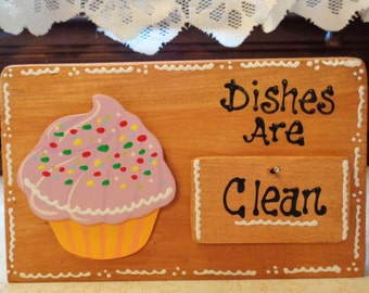 CUPCAKE DISHWASHER Clean Dirty Sign Countertop Freestanding Or Wall Hang Kitchen Counry Wood Crafts Handpainted Handcrafted
