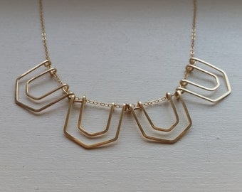 Geometric Scalloped Hammered Necklace | Geometric Necklace | Bib Necklace | Egyptian Necklace | Scalloped Necklace | Bib Necklace Statement