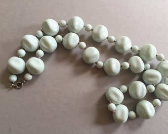 Glass BEAD Necklace Egg Shell Blue