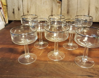 Champagne Coupe Silver Rimmed Champagne Glass Vintage Champagne Glass Set of 12
