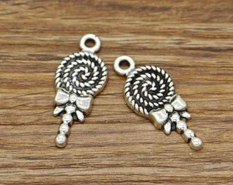 15pcs Lollipop Charms Antique Silver Tone Dollhouse Candy Sweets Charms 13x32mm 2749