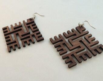 Square Swastik Earrings