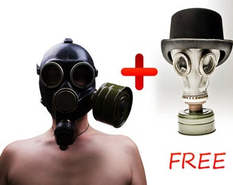 Halloween Gas mask ... Soviet army gas mask ... Soviet gas mask GP-7k.. Gasmask ... military ... cyber mask ... White gas mask GP 5 for FREE