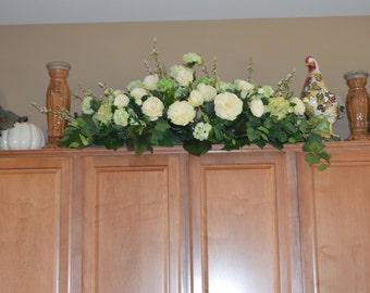Hutch Floral, Kitchen Floral, Silk Flower arrangement, Cream Kitchen Decor, Kitchen Decoration, Cabinet Silk Flowers, Hutch Decoration