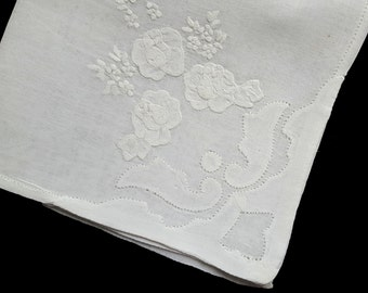 White fine cotton vintage handkerchief with rich embroidery