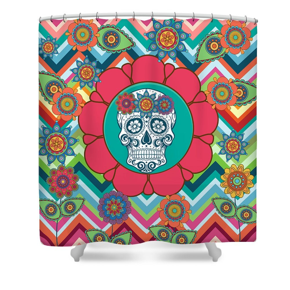 sugar skull shower curtain floral colorful chevron by folkandfunky. Black Bedroom Furniture Sets. Home Design Ideas