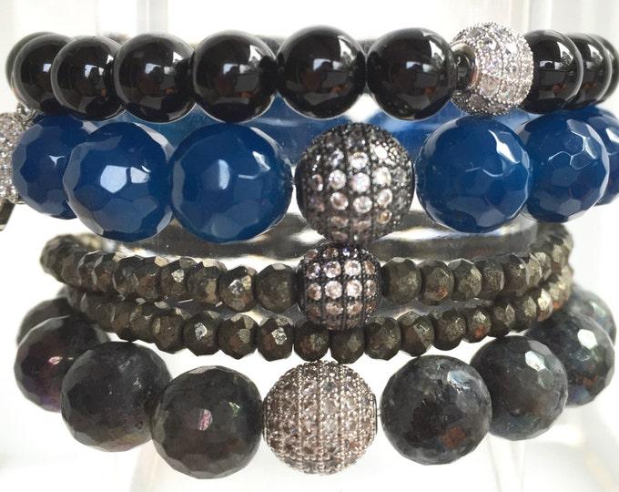 Stack Bracelets, Black Tourmaline, Blue Agate, Double Wrap Pyrite and Labradorite Gemstone Combination.