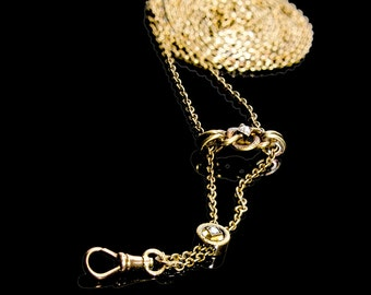 "19th century slide chain 57"" long with rose cut diamonds in slide & bail 14k"