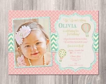 Hot air balloon invitation, hot air ballon birthday invitation, First birthday invitation, 1st birthday invitation, printable invitation