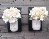 Set of Two Handpainted White Distressed Mason Jar Wall Sconce Handpainted Black Wood, Rustic, Shabby Chic, Hanging Vase, Wall Planter