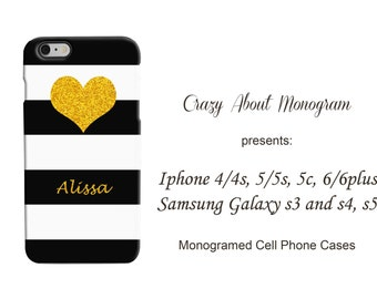 Personalized 3D Iphone or Samsung Galaxy Cell Black White and Gold Heart Phone Case