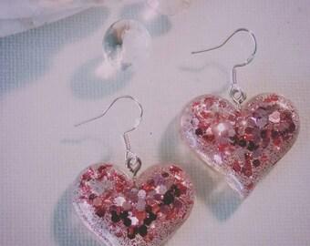 Pink Champagne Handmade Resin Heart Earrings