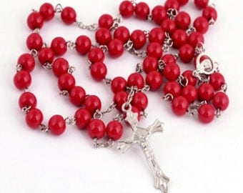 Glass Pearl Catholic Holy Rosary Necklace (Red)