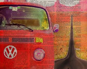 Vanlife Volkswagen Bus Dictionary Art Print, Vanagon Camper Retro Van Life Camping Wall Art Home Decor Red da960