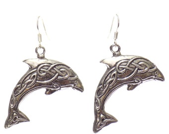 dolphin earrings, dolphin jewelry, charm earrings,pewter dolphin,pewter jewelry  earrings,dolphin gift, celtic dolphin, celtic knot dolphin